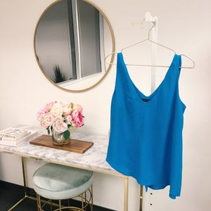 Zara Blue Asymmetrical Tank Blouse